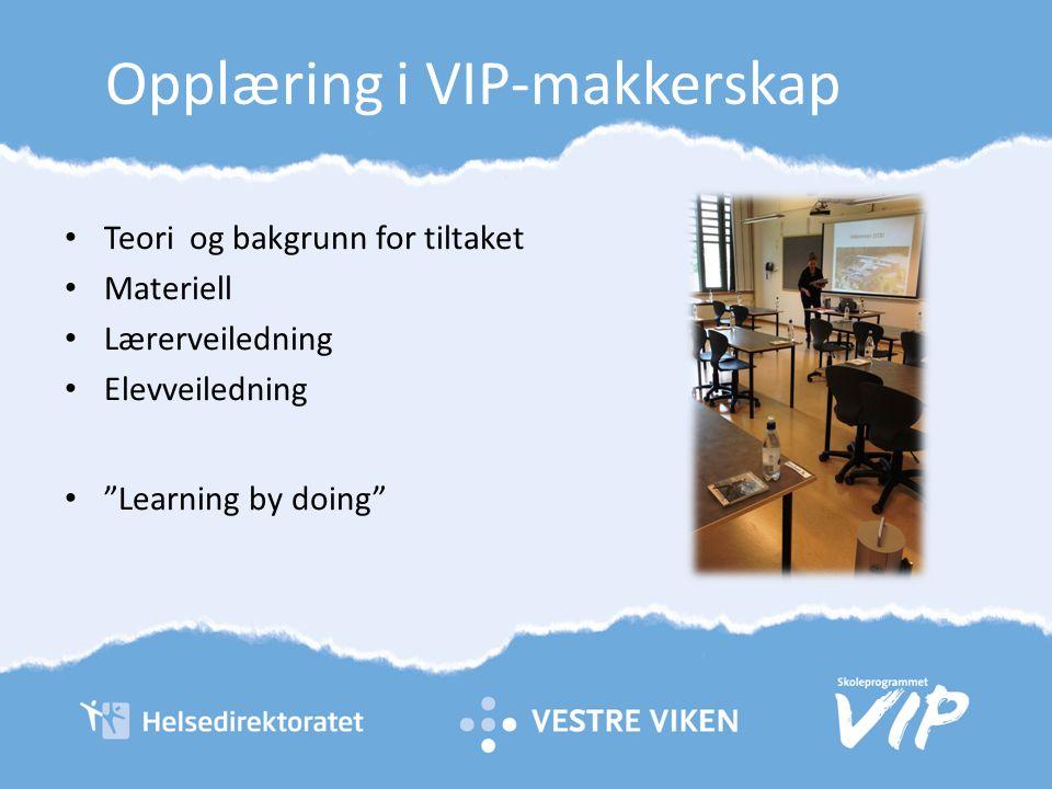 Opplæring i VIP-makkerskap Teori og bakgrunn for tiltaket Materiell Lærerveiledning Elevveiledning Learning by doing