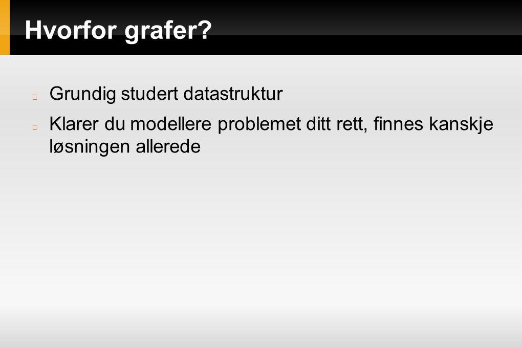 Hvorfor grafer? Grundig studert datastruktur Klarer du modellere problemet ditt rett, finnes kanskje løsningen allerede