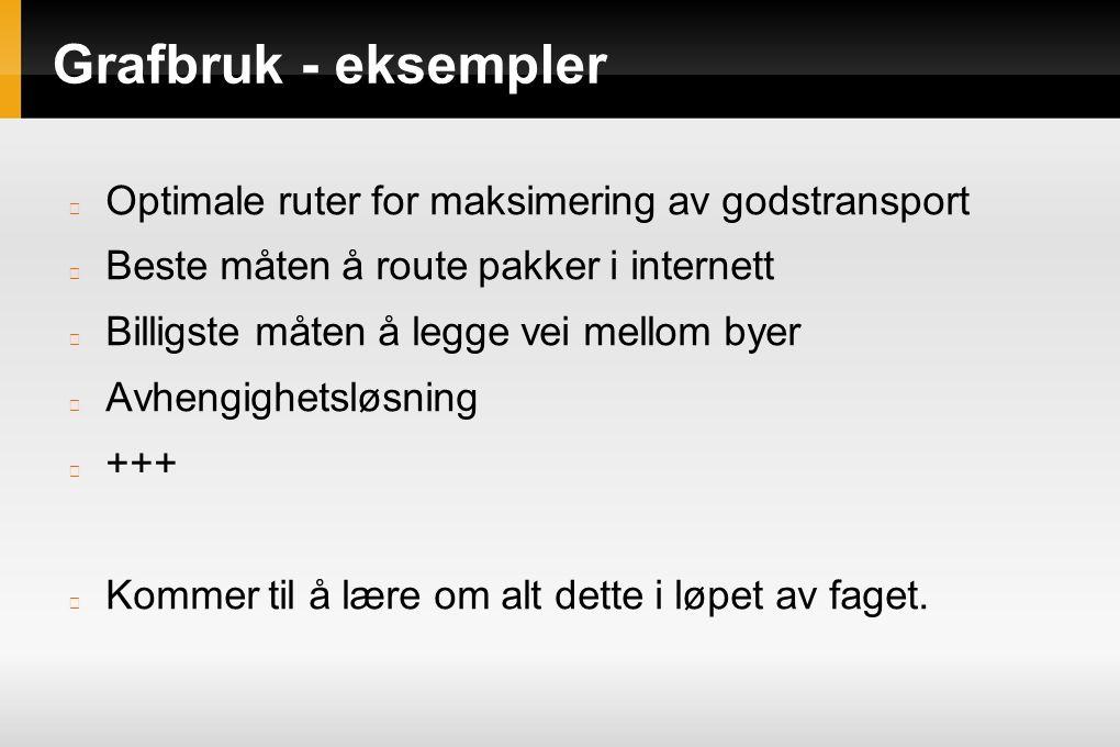 Grafbruk - eksempler Optimale ruter for maksimering av godstransport Beste måten å route pakker i internett Billigste måten å legge vei mellom byer Av