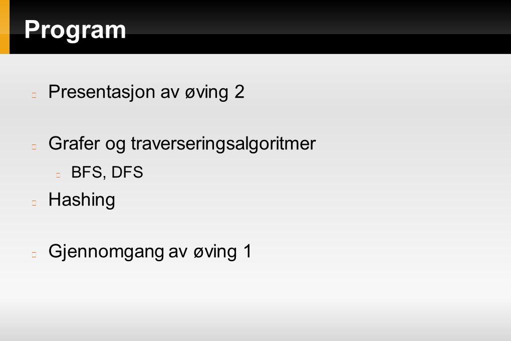 Program Presentasjon av øving 2 Grafer og traverseringsalgoritmer BFS, DFS Hashing Gjennomgang av øving 1