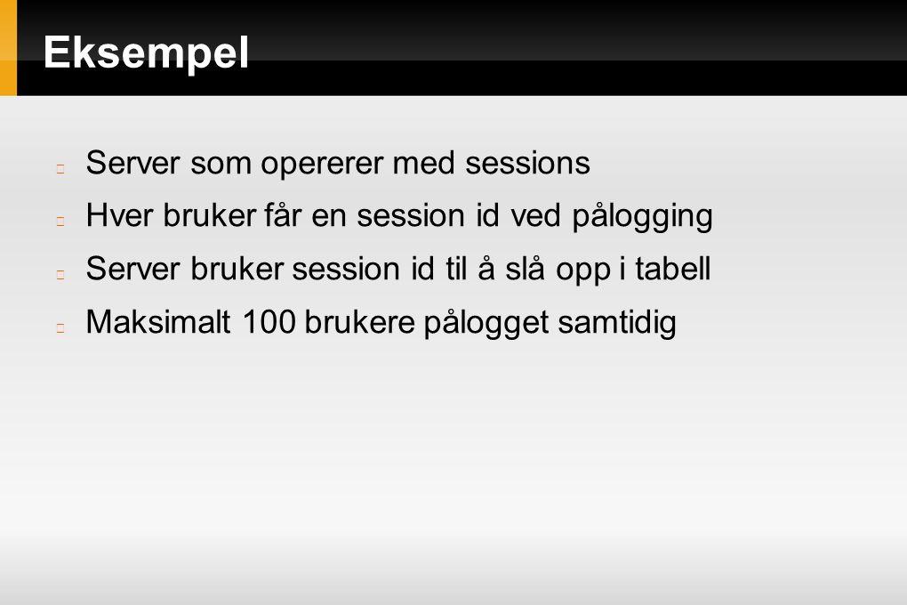 Server som opererer med sessions Hver bruker får en session id ved pålogging Server bruker session id til å slå opp i tabell Maksimalt 100 brukere pål
