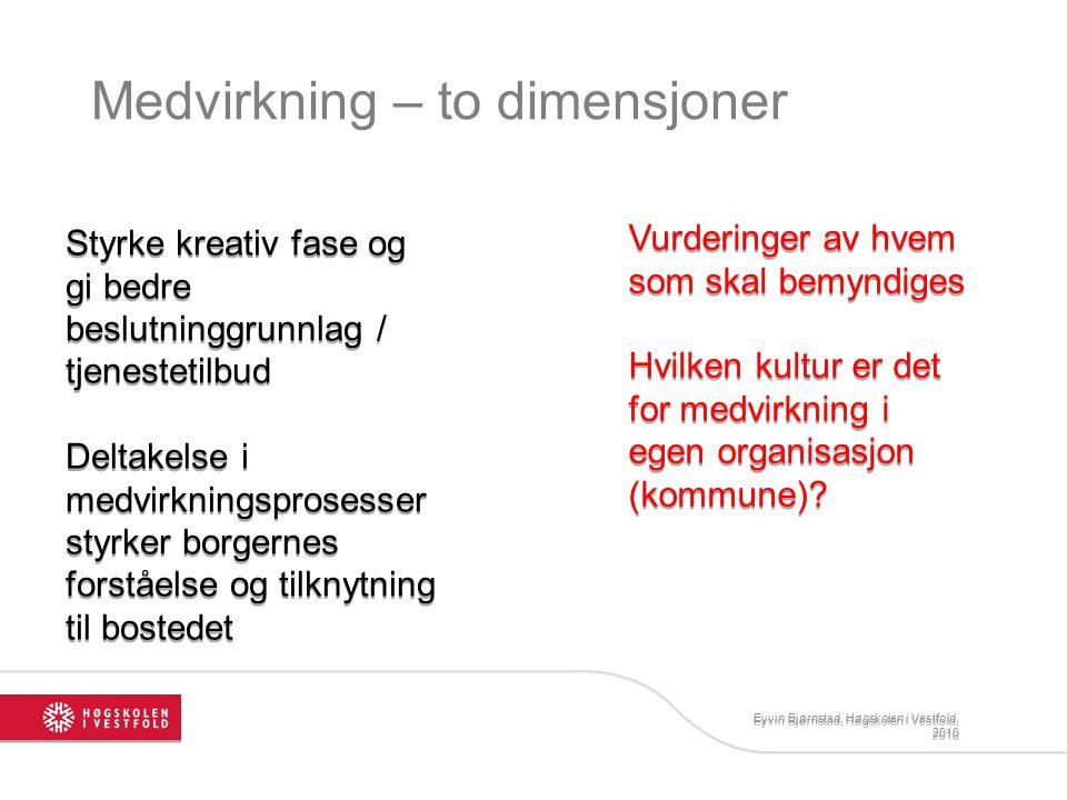 Medvirkning – to dimensjoner Eyvin Bjørnstad, Høgskolen i Vestfold, 2010 Styrke kreativ fase og gi bedre beslutninggrunnlag / tjenestetilbud Deltakels