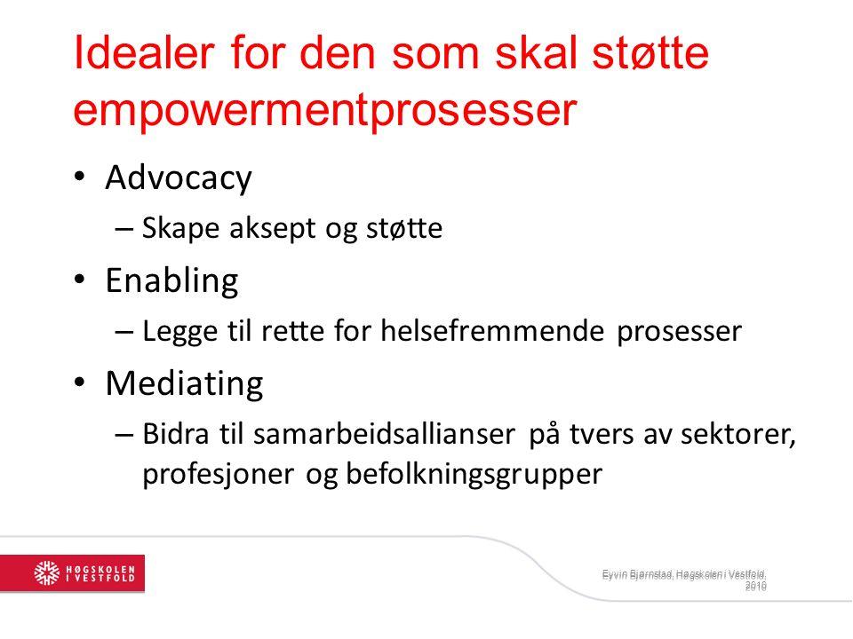 Eyvin Bjørnstad, Høgskolen i Vestfold, 2010 Idealer for den som skal støtte empowermentprosesser Advocacy – Skape aksept og støtte Enabling – Legge ti
