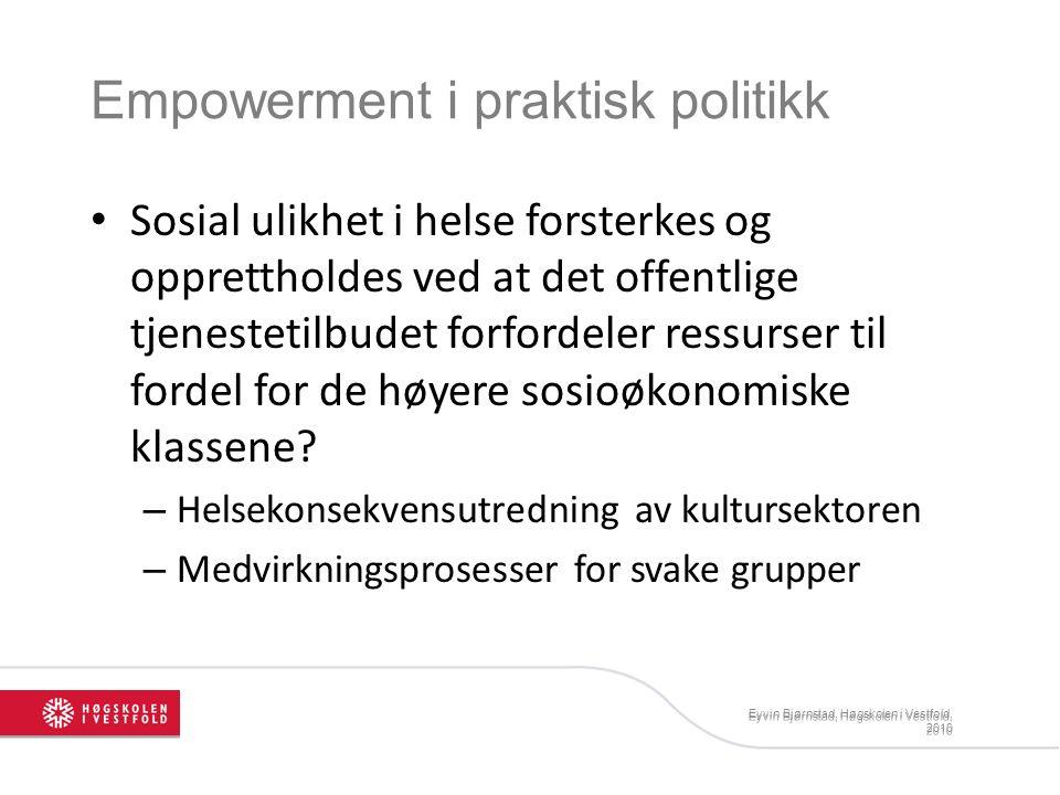 Empowerment i praktisk politikk Sosial ulikhet i helse forsterkes og opprettholdes ved at det offentlige tjenestetilbudet forfordeler ressurser til fordel for de høyere sosioøkonomiske klassene.