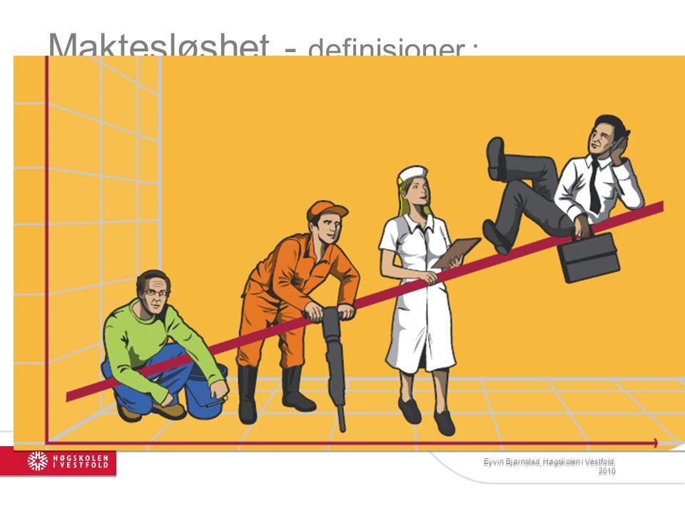 Eyvin Bjørnstad, Høgskolen i Vestfold, 2010 Maktesløshet - definisjoner : 1. Situasjonsbetinget maktesløshet: En persons opplevelse av mangel på eller