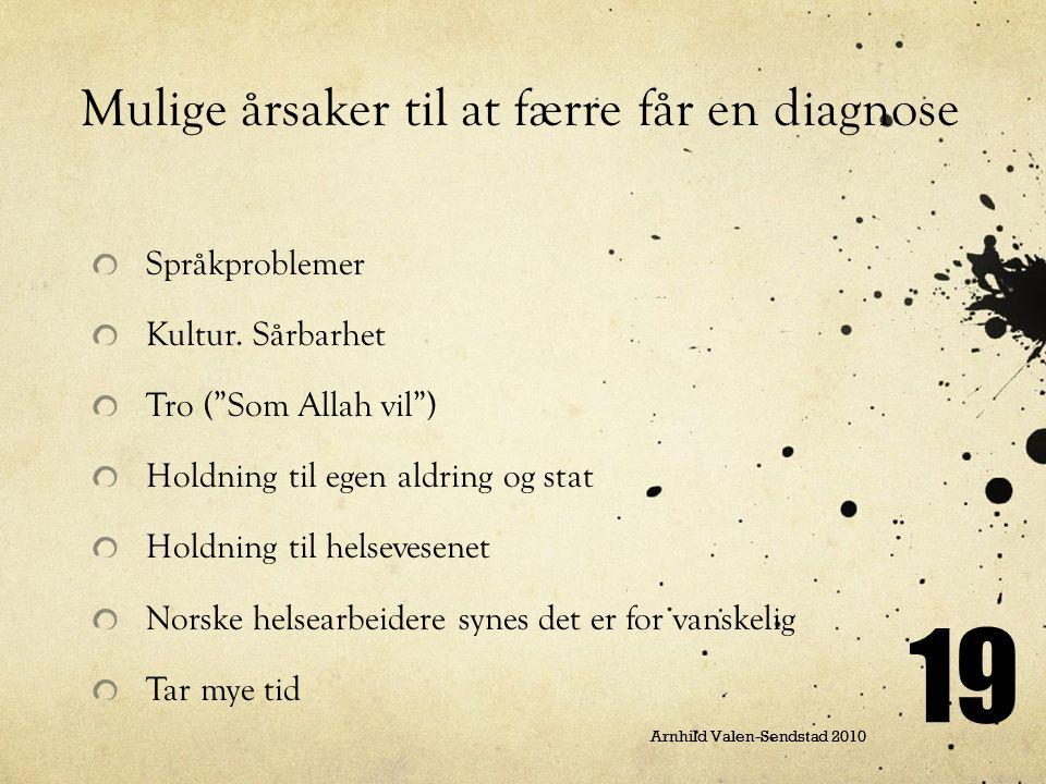 """19 Arnhild Valen-Sendstad 2010 Mulige årsaker til at færre får en diagnose Språkproblemer Kultur. Sårbarhet Tro (""""Som Allah vil"""") Holdning til egen al"""