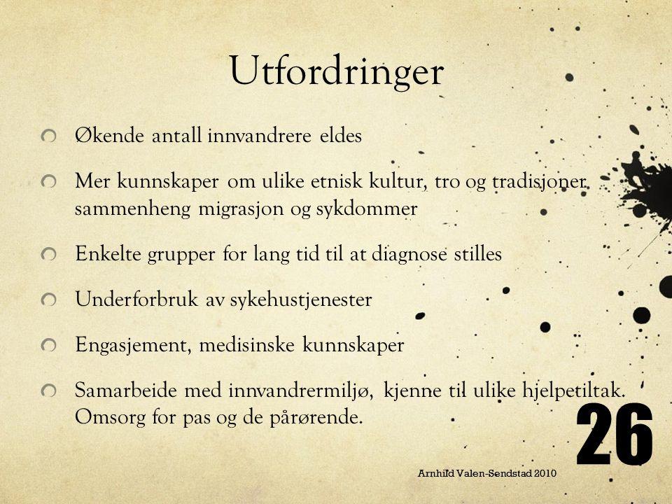 26 Arnhild Valen-Sendstad 2010 Utfordringer Økende antall innvandrere eldes Mer kunnskaper om ulike etnisk kultur, tro og tradisjoner sammenheng migra