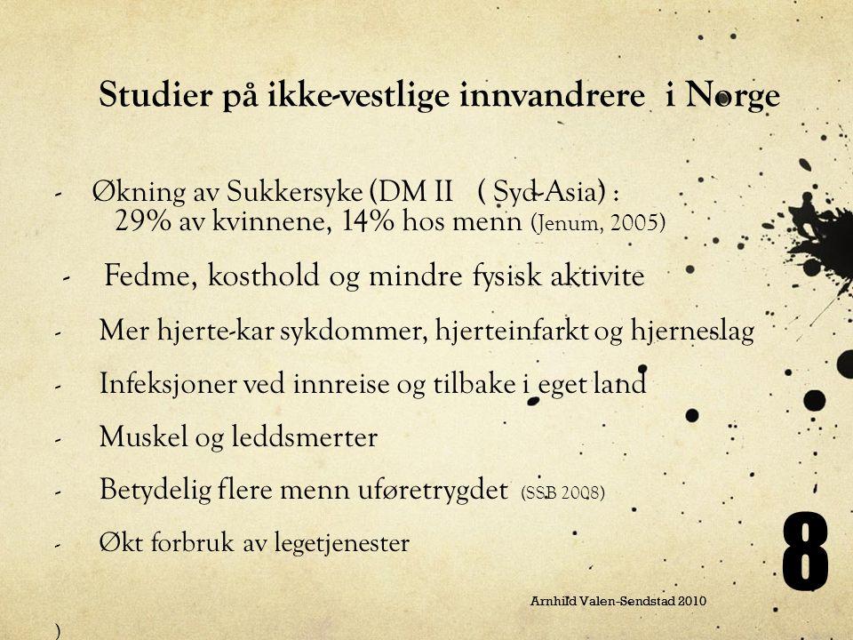 Arnhild Valen-Sendstad 2010 8 Studier på ikke-vestlige innvandrere i Norge - Økning av Sukkersyke (DM II ( Syd-Asia) : 29% av kvinnene, 14% hos menn (