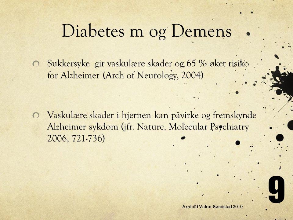 Arnhild Valen-Sendstad 2010 9 Sukkersyke gir vaskulære skader og 65 % øket risiko for Alzheimer (Arch of Neurology, 2004) Vaskulære skader i hjernen k