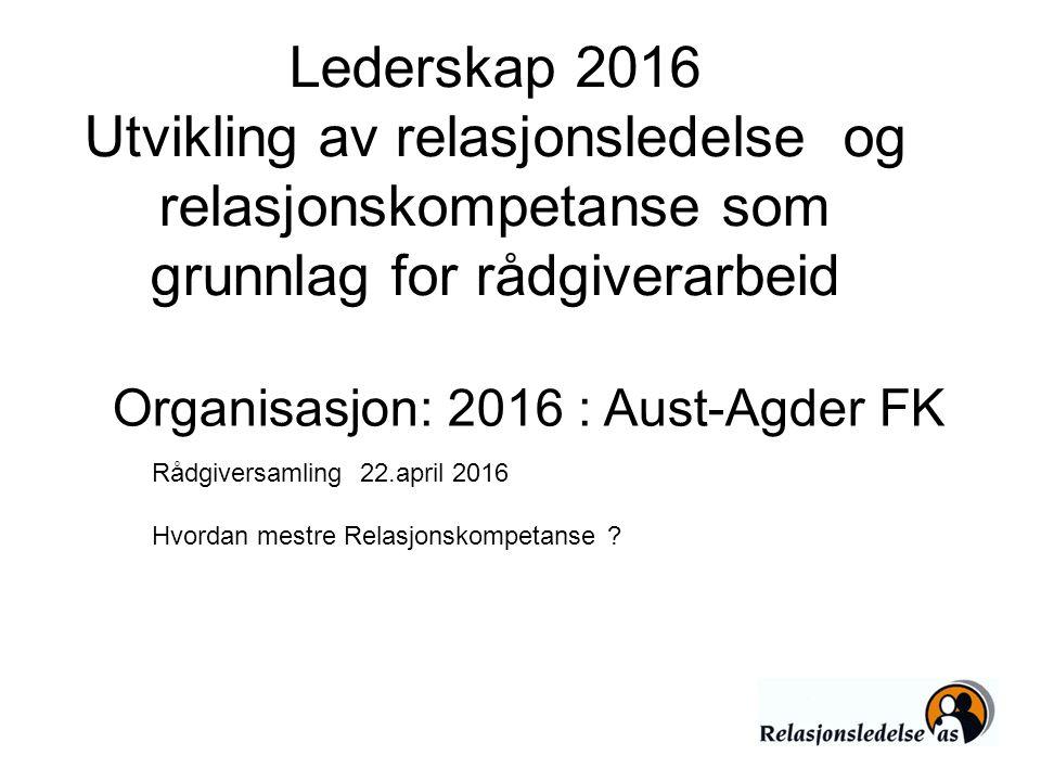 Lederskap 2016 Utvikling av relasjonsledelse og relasjonskompetanse som grunnlag for rådgiverarbeid Rådgiversamling 22.april 2016 Hvordan mestre Relas