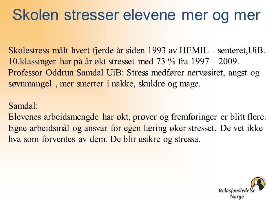 Skolen stresser elevene mer og mer Skolestress målt hvert fjerde år siden 1993 av HEMIL – senteret,UiB. 10.klassinger har på år økt stresset med 73 %
