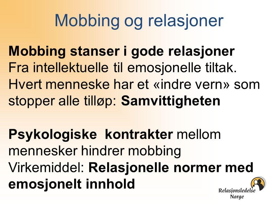 Mobbing og relasjoner Mobbing stanser i gode relasjoner Fra intellektuelle til emosjonelle tiltak. Hvert menneske har et «indre vern» som stopper alle