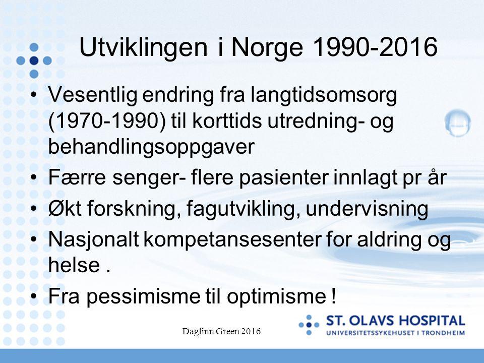 Utviklingen i Norge 1990-2016 Vesentlig endring fra langtidsomsorg (1970-1990) til korttids utredning- og behandlingsoppgaver Færre senger- flere pasienter innlagt pr år Økt forskning, fagutvikling, undervisning Nasjonalt kompetansesenter for aldring og helse.