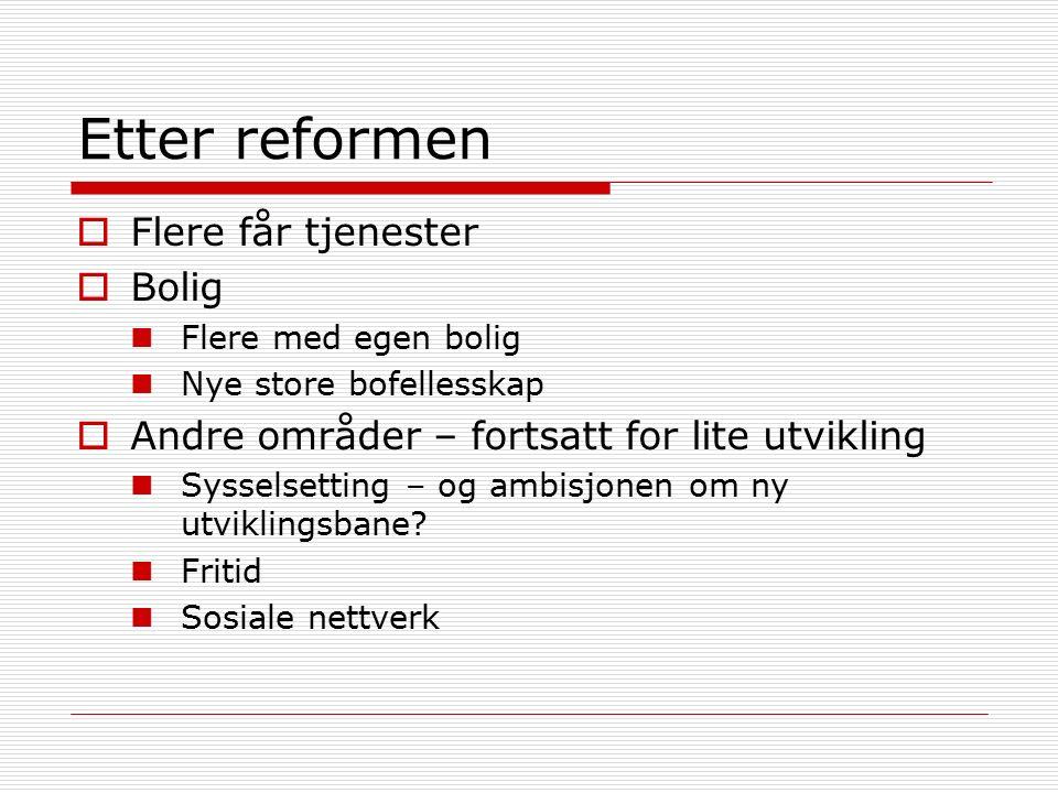 Etter reformen  Flere får tjenester  Bolig Flere med egen bolig Nye store bofellesskap  Andre områder – fortsatt for lite utvikling Sysselsetting – og ambisjonen om ny utviklingsbane.
