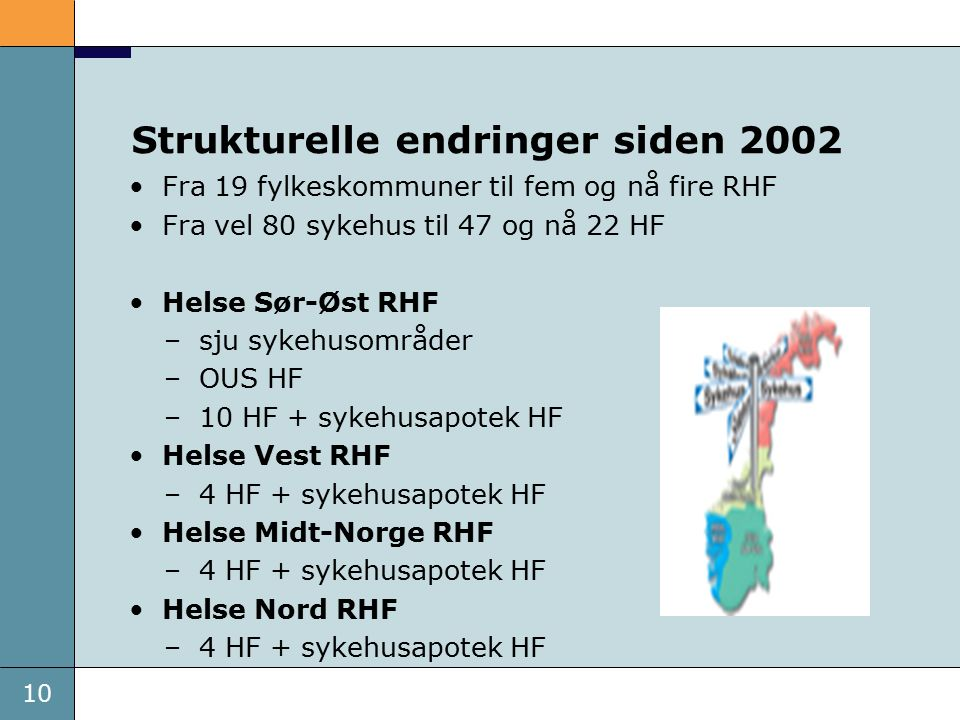 10 Strukturelle endringer siden 2002 Fra 19 fylkeskommuner til fem og nå fire RHF Fra vel 80 sykehus til 47 og nå 22 HF Helse Sør-Øst RHF –sju sykehusområder –OUS HF –10 HF + sykehusapotek HF Helse Vest RHF –4 HF + sykehusapotek HF Helse Midt-Norge RHF –4 HF + sykehusapotek HF Helse Nord RHF –4 HF + sykehusapotek HF