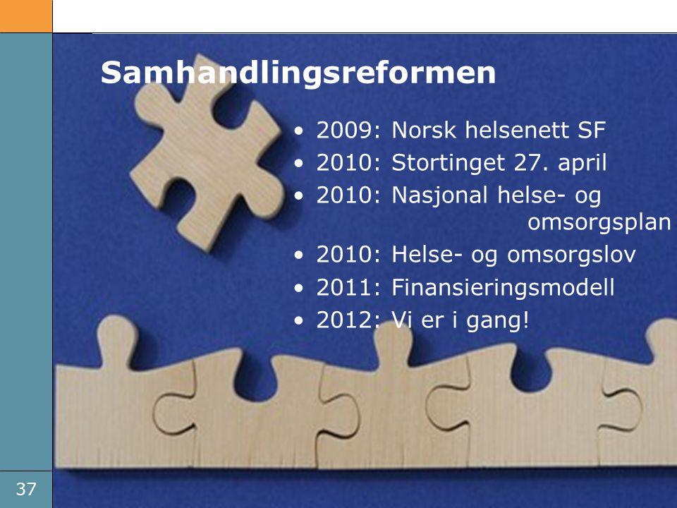37 Brikkene faller på plass 2009: Norsk helsenett SF 2010: Stortinget 27.