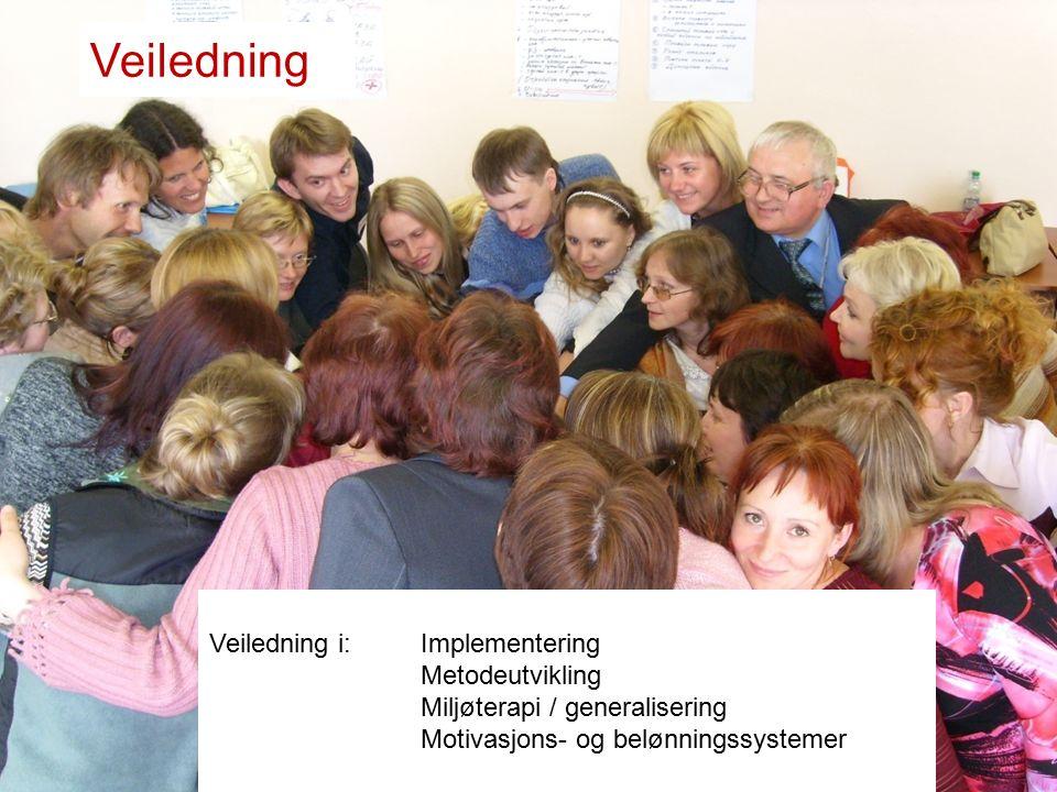 Veiledning Veiledning i:Implementering Metodeutvikling Miljøterapi / generalisering Motivasjons- og belønningssystemer