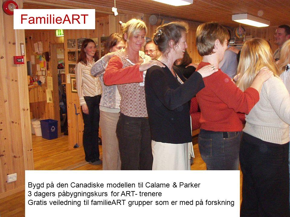 FamilieART Bygd på den Canadiske modellen til Calame & Parker 3 dagers påbygningskurs for ART- trenere Gratis veiledning til familieART grupper som er med på forskning