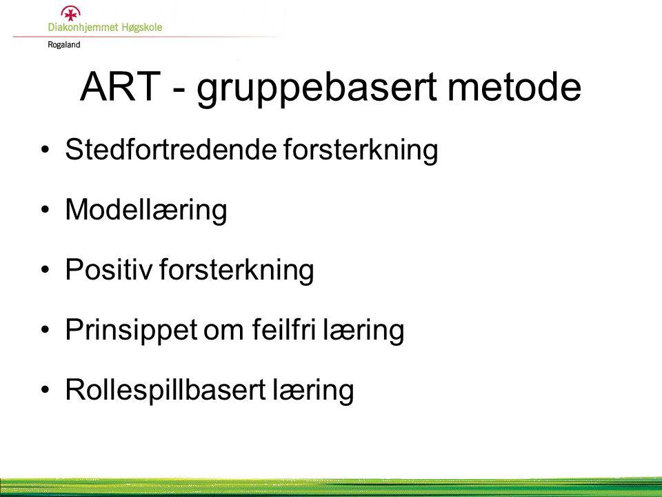ART - gruppebasert metode Stedfortredende forsterkning Modellæring Positiv forsterkning Prinsippet om feilfri læring Rollespillbasert læring