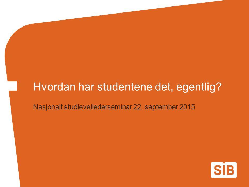 Nasjonalt studieveilederseminar 22. september 2015 Hvordan har studentene det, egentlig?