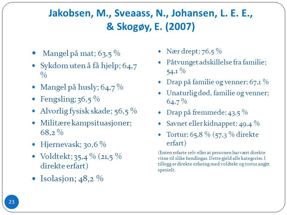 Jakobsen, M., Sveaass, N., Johansen, L. E. E., & Skogøy, E.