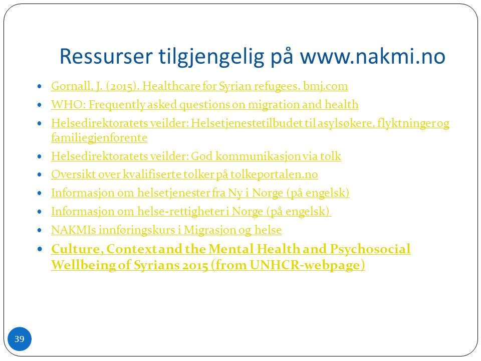 Ressurser tilgjengelig på www.nakmi.no Gornall, J.