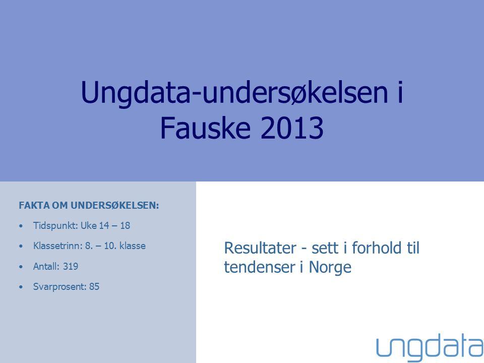 Ungdata-undersøkelsen i Fauske 2013 Resultater - sett i forhold til tendenser i Norge FAKTA OM UNDERSØKELSEN: Tidspunkt: Uke 14 – 18 Klassetrinn: 8.