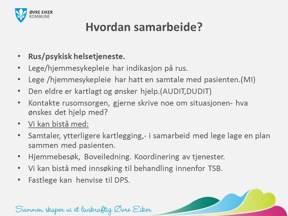 Hvordan samarbeide? Rus/psykisk helsetjeneste. Lege/hjemmesykepleie har indikasjon på rus. Lege /hjemmesykepleie har hatt en samtale med pasienten.(MI