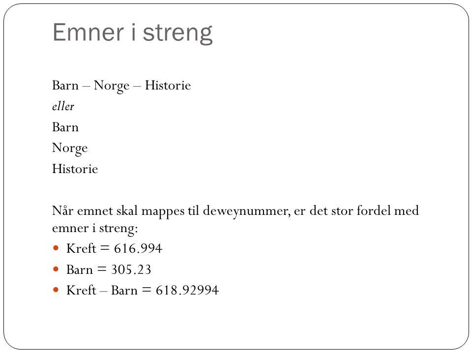 Emner i streng Barn – Norge – Historie eller Barn Norge Historie Når emnet skal mappes til deweynummer, er det stor fordel med emner i streng: Kreft = 616.994 Barn = 305.23 Kreft – Barn = 618.92994