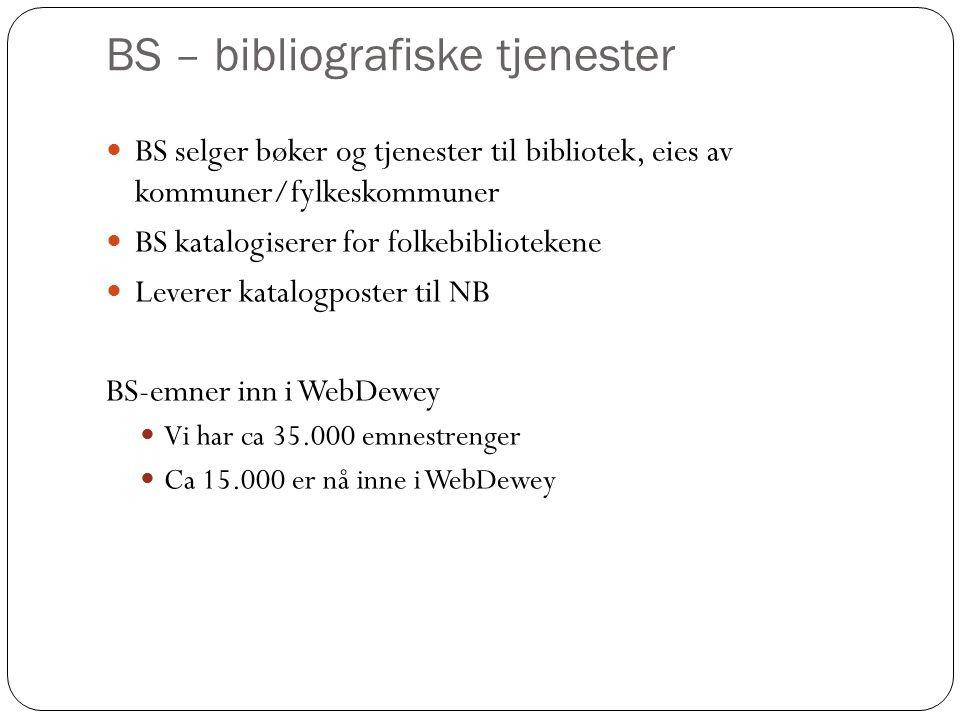 BS – bibliografiske tjenester BS selger bøker og tjenester til bibliotek, eies av kommuner/fylkeskommuner BS katalogiserer for folkebibliotekene Leverer katalogposter til NB BS-emner inn i WebDewey Vi har ca 35.000 emnestrenger Ca 15.000 er nå inne i WebDewey