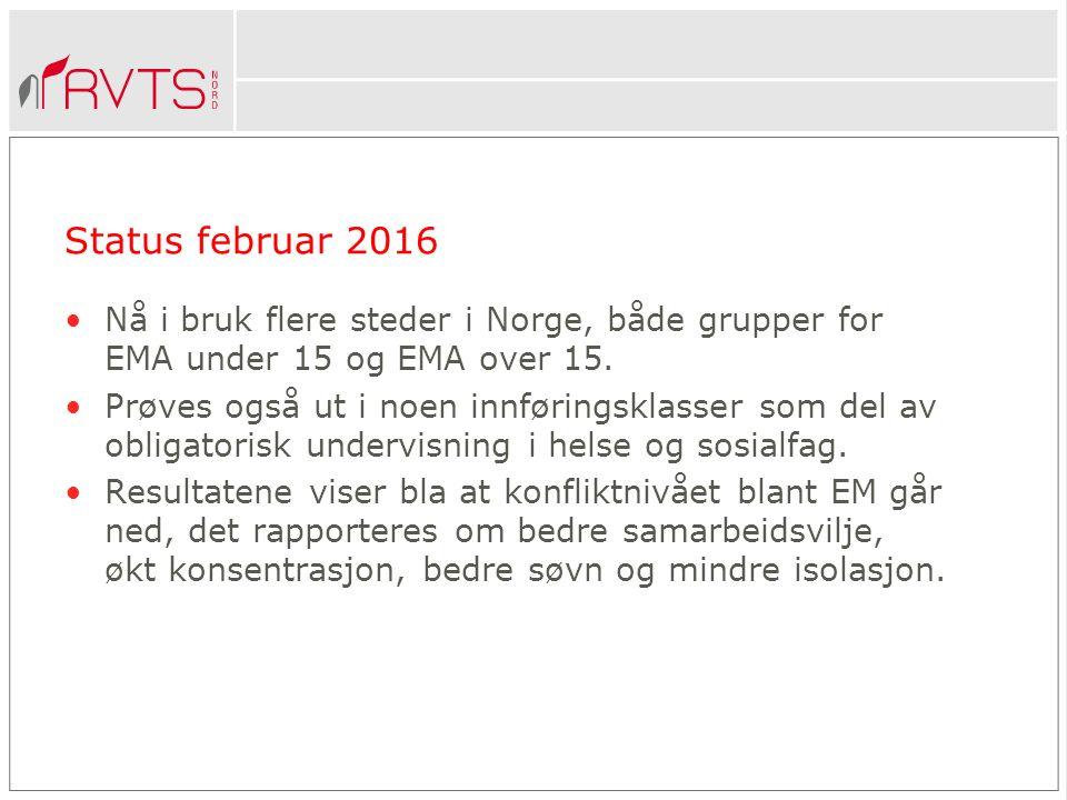 Status februar 2016 Nå i bruk flere steder i Norge, både grupper for EMA under 15 og EMA over 15.