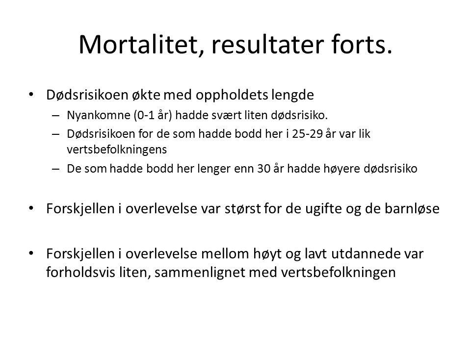 Mortalitet, resultater forts.
