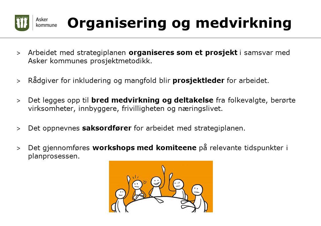 Organisering og medvirkning > Arbeidet med strategiplanen organiseres som et prosjekt i samsvar med Asker kommunes prosjektmetodikk.