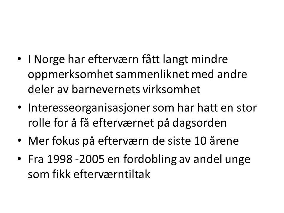 I Norge har efterværn fått langt mindre oppmerksomhet sammenliknet med andre deler av barnevernets virksomhet Interesseorganisasjoner som har hatt en stor rolle for å få efterværnet på dagsorden Mer fokus på efterværn de siste 10 årene Fra 1998 -2005 en fordobling av andel unge som fikk efterværntiltak