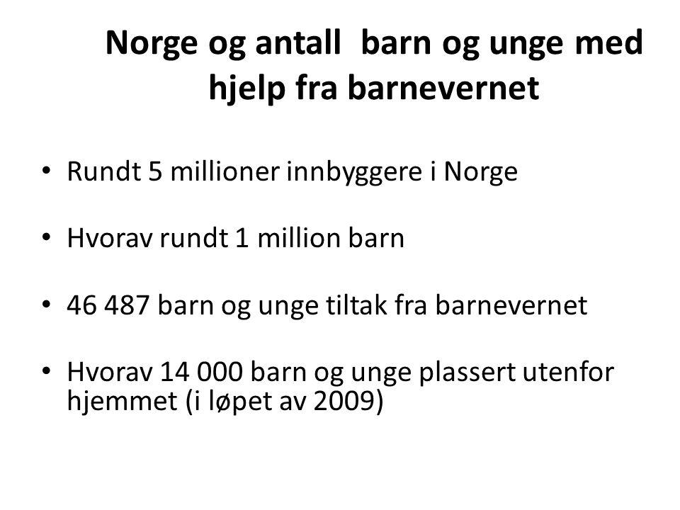 Norge og antall barn og unge med hjelp fra barnevernet Rundt 5 millioner innbyggere i Norge Hvorav rundt 1 million barn 46 487 barn og unge tiltak fra barnevernet Hvorav 14 000 barn og unge plassert utenfor hjemmet (i løpet av 2009)