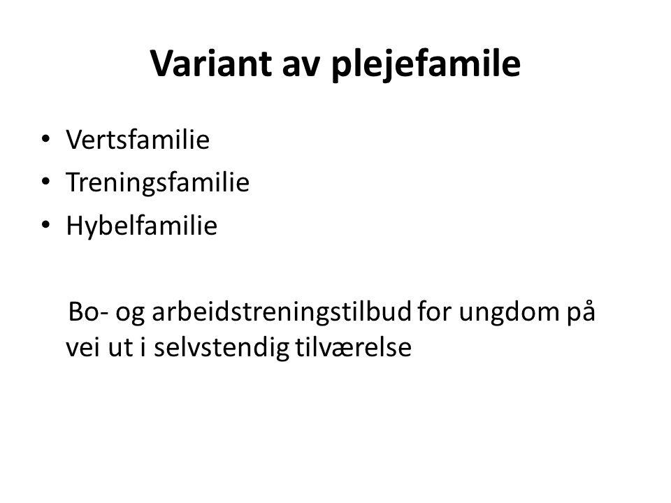 Variant av plejefamile Vertsfamilie Treningsfamilie Hybelfamilie Bo- og arbeidstreningstilbud for ungdom på vei ut i selvstendig tilværelse