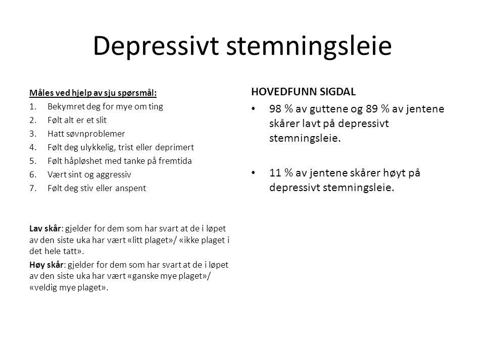Depressivt stemningsleie Måles ved hjelp av sju spørsmål: 1.Bekymret deg for mye om ting 2.Følt alt er et slit 3.Hatt søvnproblemer 4.Følt deg ulykkelig, trist eller deprimert 5.Følt håpløshet med tanke på fremtida 6.Vært sint og aggressiv 7.Følt deg stiv eller anspent Lav skår: gjelder for dem som har svart at de i løpet av den siste uka har vært «litt plaget»/ «ikke plaget i det hele tatt».