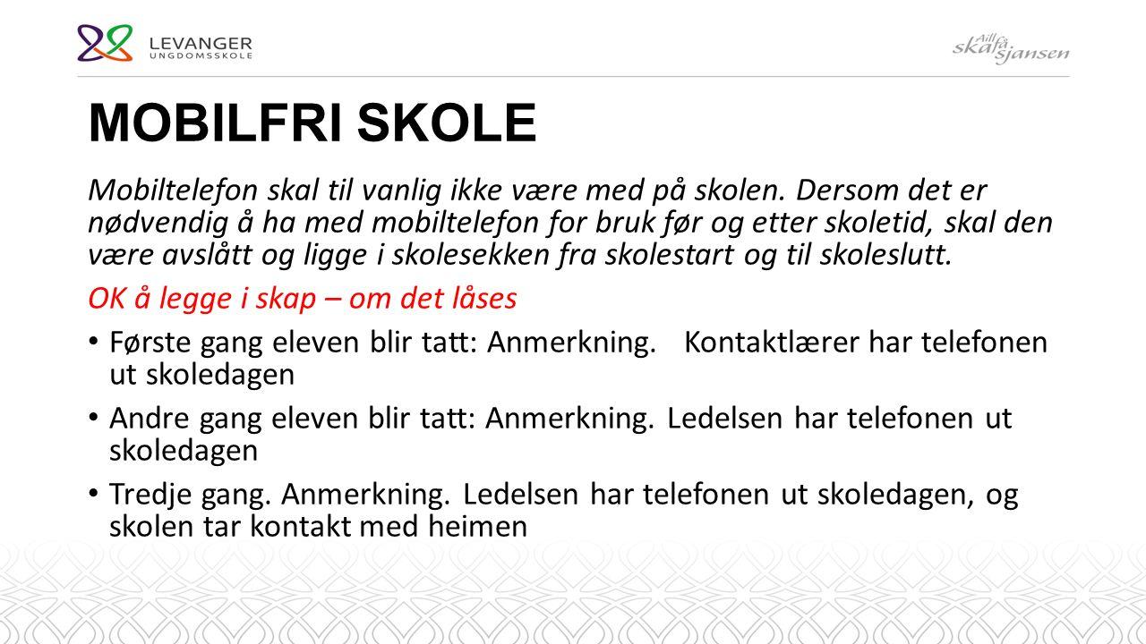 MOBILFRI SKOLE Mobiltelefon skal til vanlig ikke være med på skolen.