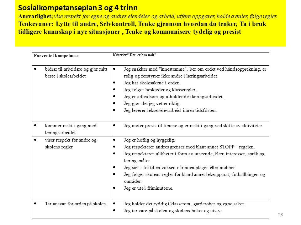 Sosialkompetanseplan 3 og 4 trinn Ansvarlighet; vise respekt for egne og andres eiendeler og arbeid, utføre oppgaver, holde avtaler, følge regler.