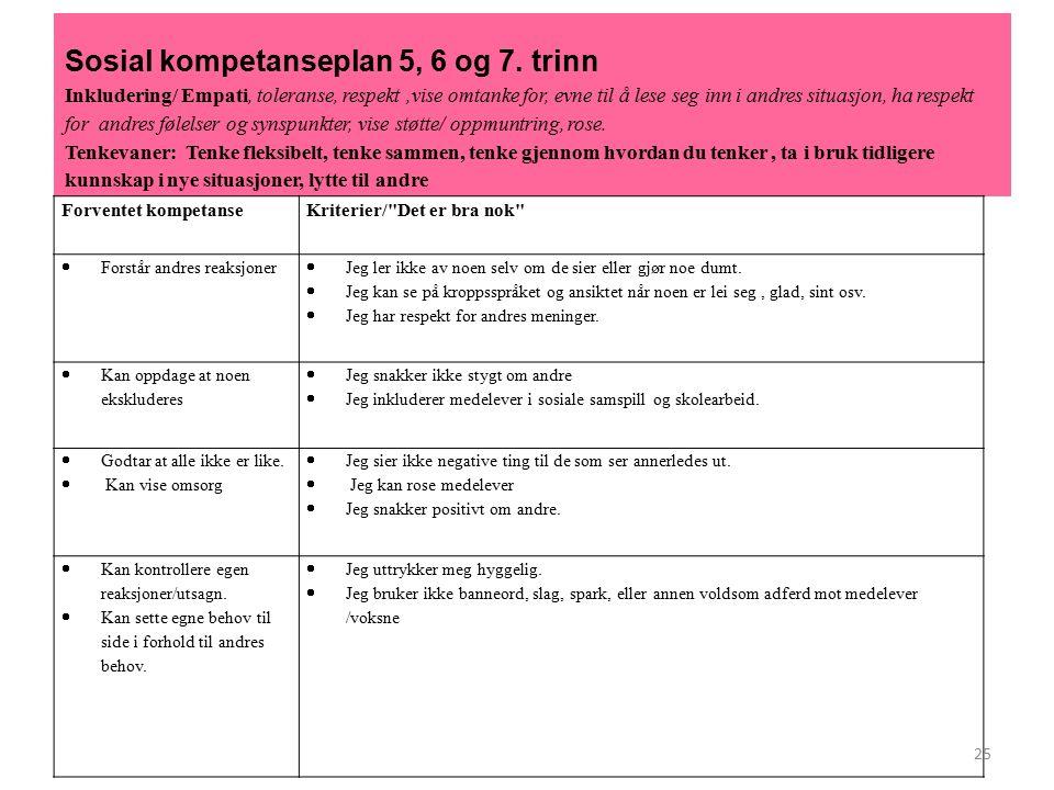Sosial kompetanseplan 5, 6 og 7.