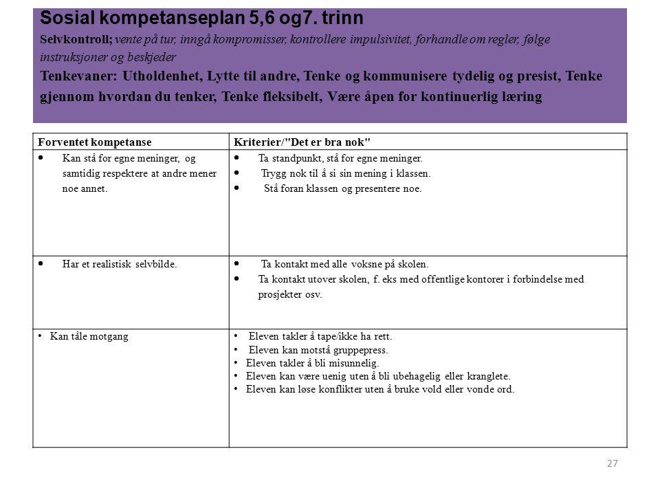 Sosial kompetanseplan 5,6 og7.