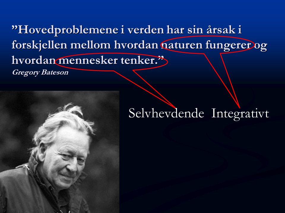 """""""Hovedproblemene i verden har sin årsak i forskjellen mellom hvordan naturen fungerer og hvordan mennesker tenker."""" Gregory Bateson Integrativt Selvhe"""