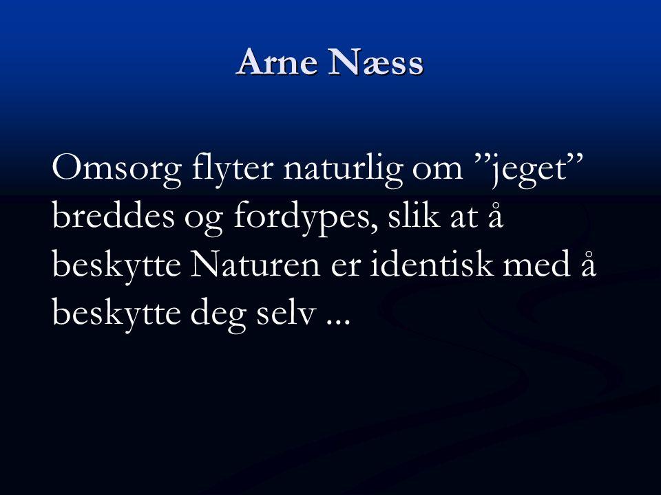 """Arne Næss Omsorg flyter naturlig om """"jeget"""" breddes og fordypes, slik at å beskytte Naturen er identisk med å beskytte deg selv..."""