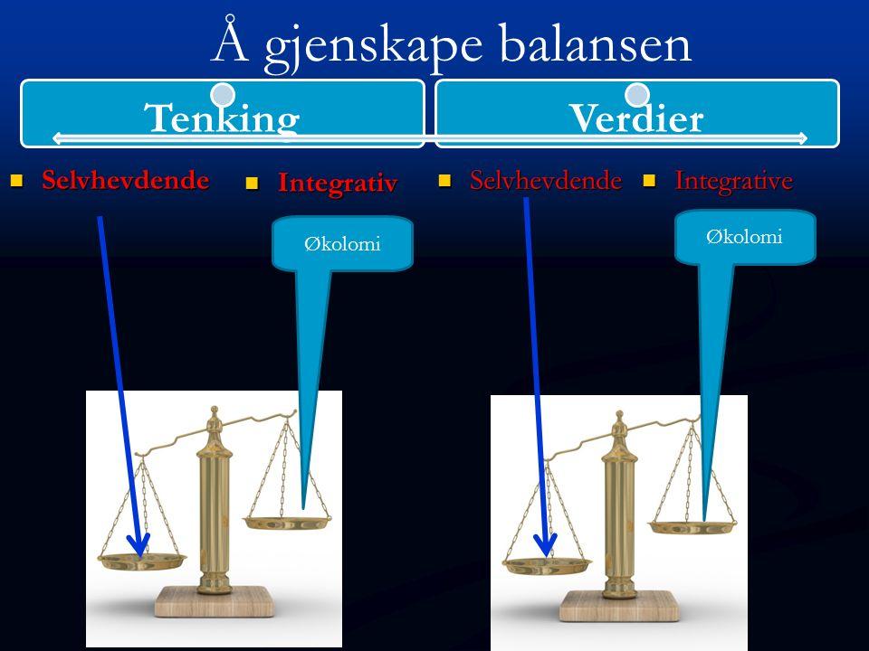 Selvhevdende Selvhevdende Integrativ Integrative Integrative Selvhevdende Selvhevdende TenkingVerdier Økolomi Å gjenskape balansen