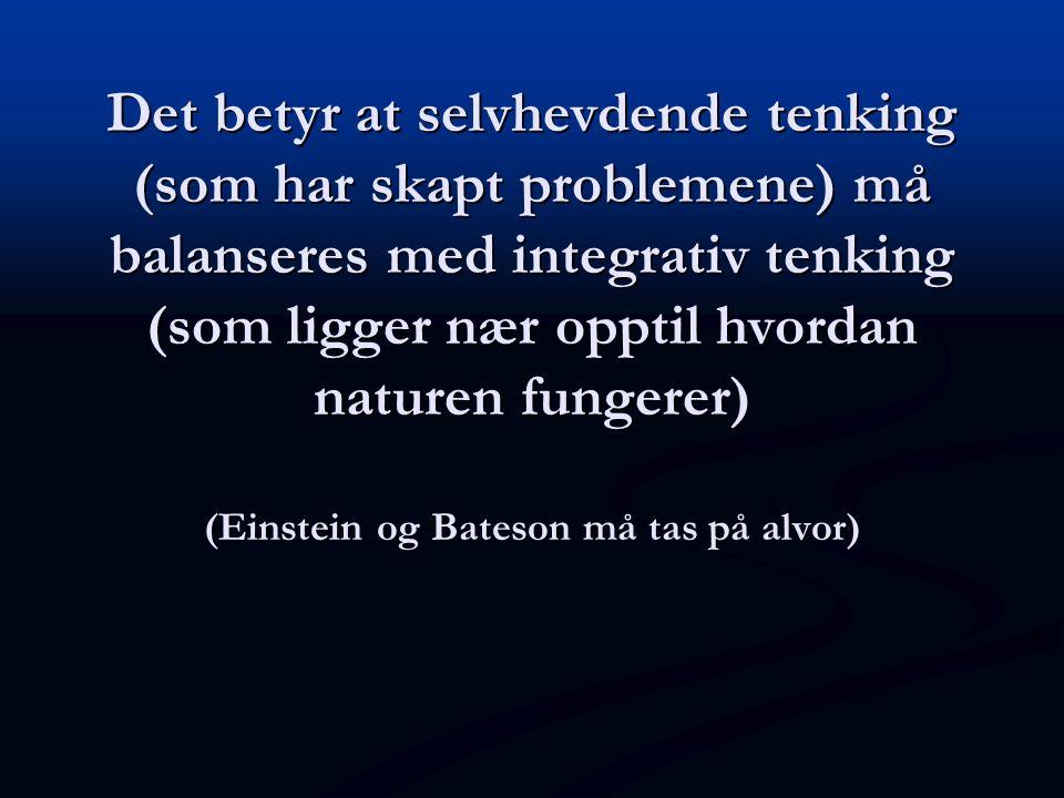 Det betyr at selvhevdende tenking (som har skapt problemene) må balanseres med integrativ tenking (som ligger nær opptil hvordan naturen fungerer) (Ei