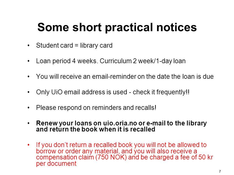 Praktisk info – kort fortalt Studiekort = lånekort.