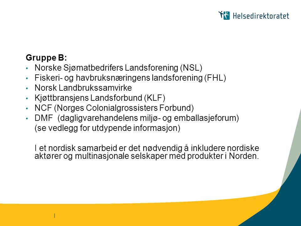 | Gruppe B: Norske Sjømatbedrifers Landsforening (NSL) Fiskeri- og havbruksnæringens landsforening (FHL) Norsk Landbrukssamvirke Kjøttbransjens Landsforbund (KLF) NCF (Norges Colonialgrossisters Forbund) DMF (dagligvarehandelens miljø- og emballasjeforum) (se vedlegg for utdypende informasjon) I et nordisk samarbeid er det nødvendig å inkludere nordiske aktører og multinasjonale selskaper med produkter i Norden.