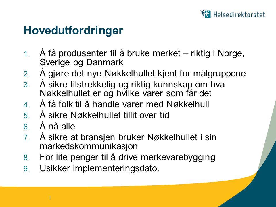 | Hovedutfordringer 1. Å få produsenter til å bruke merket – riktig i Norge, Sverige og Danmark 2.