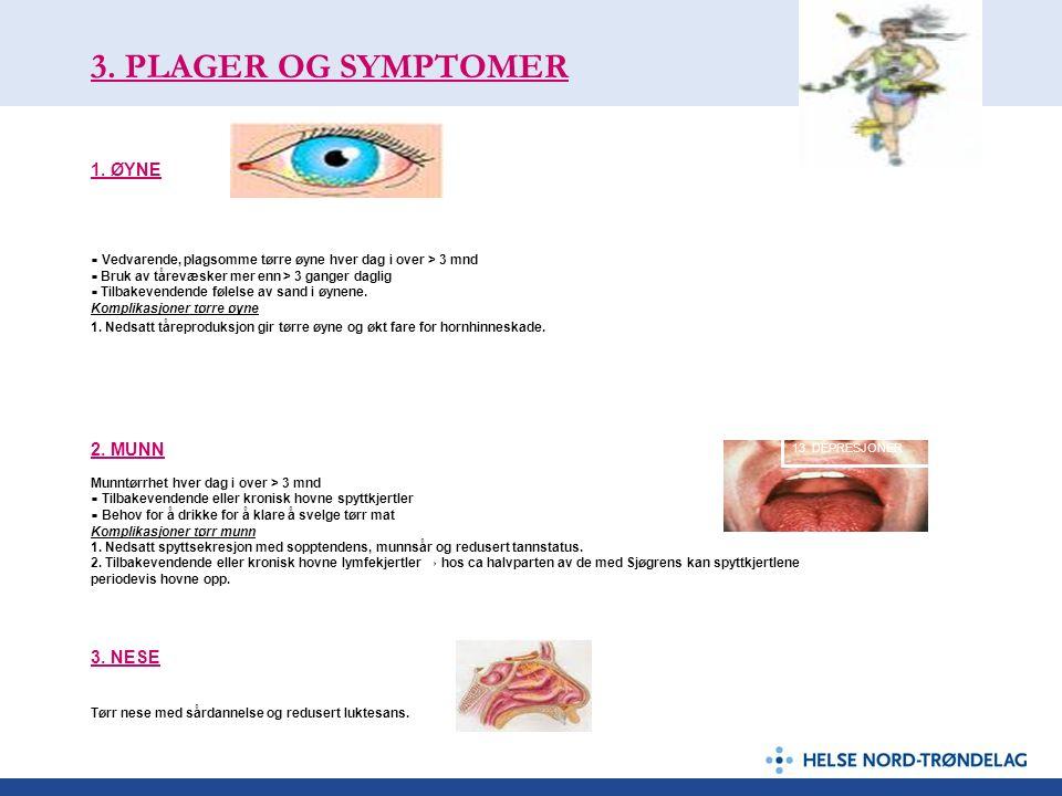 3. PLAGER OG SYMPTOMER 1. ØYNE ▪ Vedvarende, plagsomme tørre øyne hver dag i over > 3 mnd ▪ Bruk av tårevæsker mer enn > 3 ganger daglig ▪ Tilbakevend
