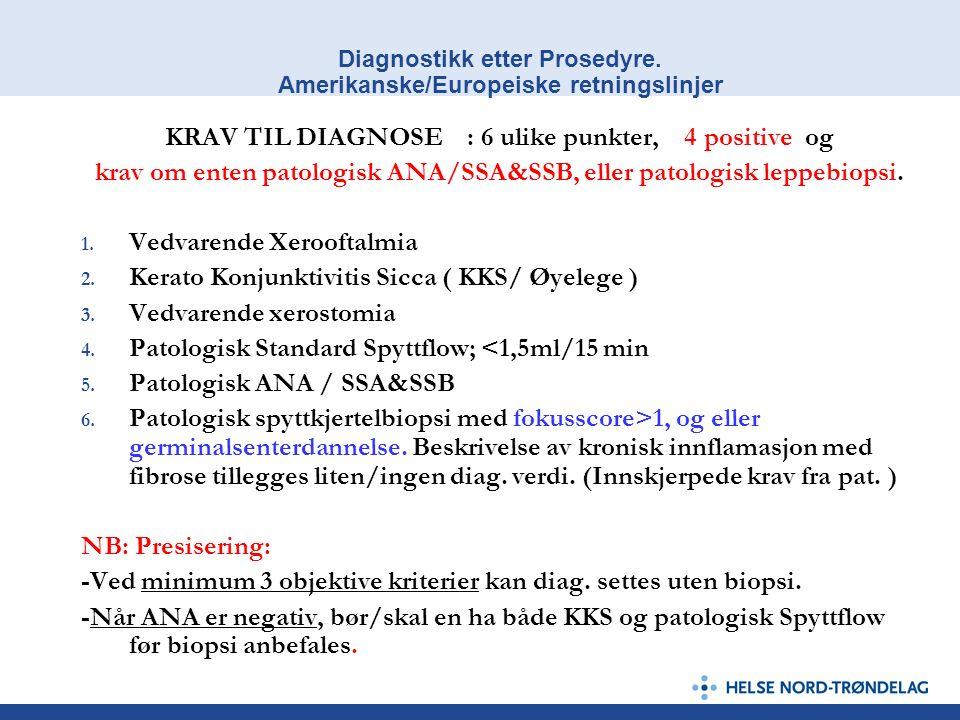Diagnostikk etter Prosedyre. Amerikanske/Europeiske retningslinjer KRAV TIL DIAGNOSE : 6 ulike punkter, 4 positive og krav om enten patologisk ANA/SSA